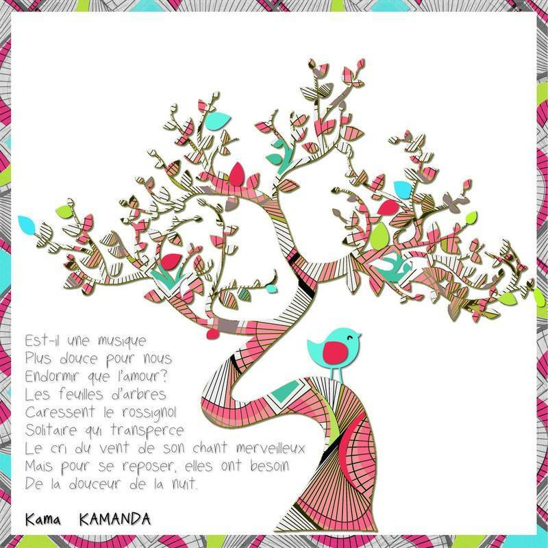 "Toile poésie ""L'arbre et l'oiseau"" - Kama Kamanda"