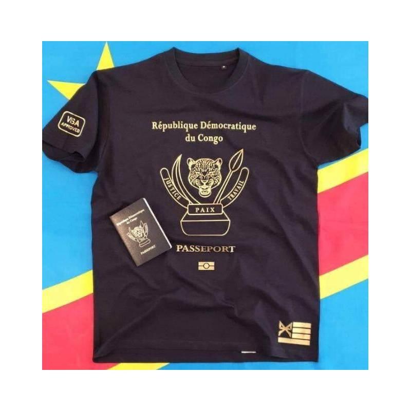 T-shirt PASSEPORT République Démocratique du Congo - Couleur Bleu
